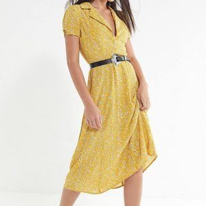 Urban outfitters yellow floral midi dress